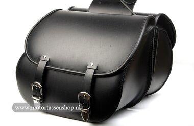 Motortas-set Classic, zwart, gladleer 2x27L, G5501s